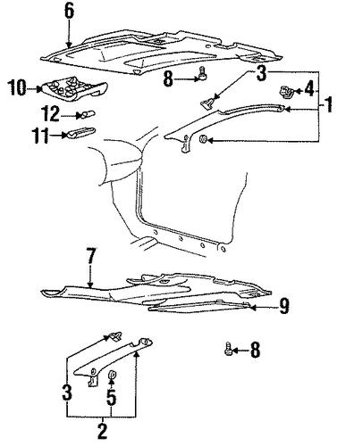 Interior Trim Roof Parts For 1997 Pontiac Firebird