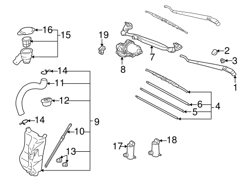 BODY/WIPER & WASHER COMPONENTS for 1996 Toyota RAV4 #1