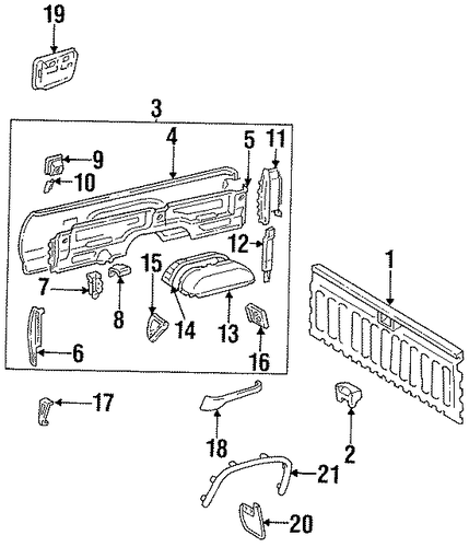 BODY/BOX ASSEMBLY for 1998 Toyota T100 #1
