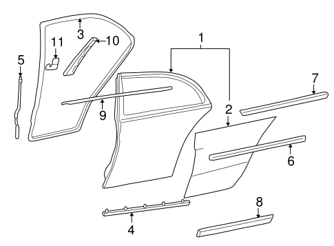 Belt molding for 1996 mercedes benz c220 202 690 16 80 for Mercedes benz exterior parts
