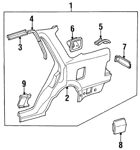 1987 Honda ACCORD SEDAN DX Extension, R Rear Gutter - (63315SE3A50ZZ)