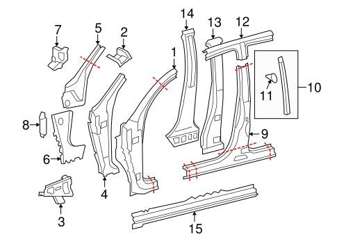 Inner Center Pillar - Toyota (61307-0C011)