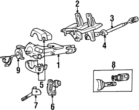 STEERING       COLUMN    ASSEMBLY for 2000 Jeep    Cherokee