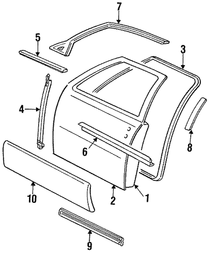 Exterior Trim Front Door For 1994 Cadillac Seville
