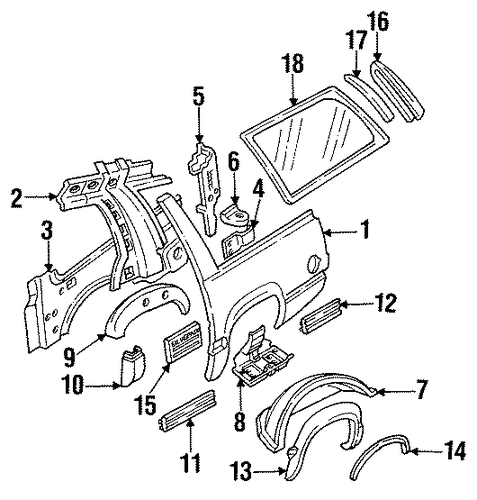 quarter panel  u0026 components for 1993 chevrolet suburban c1500