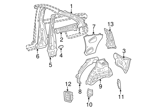BODY/INNER STRUCTURE for 2000 Toyota Solara #2