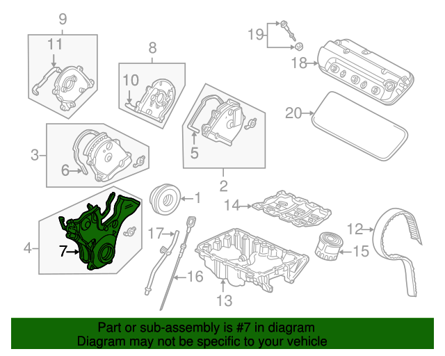 1998 Honda ACCORD COUPE EX (V6) GASKET A, TIMING BELT COVER (LOWER) - (11813P8AA00)