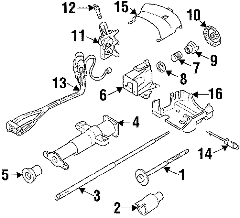 steering column assembly for 1996 gmc suburban k2500