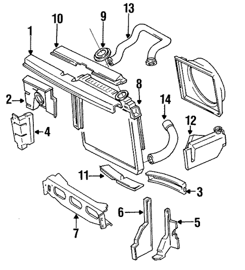 radiator support for 1989 jeep cherokee