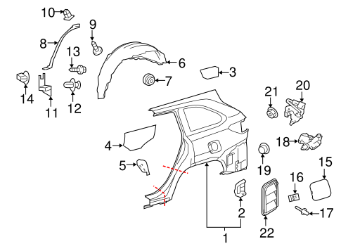 BODY/QUARTER PANEL & COMPONENTS for 2014 Toyota Highlander #1