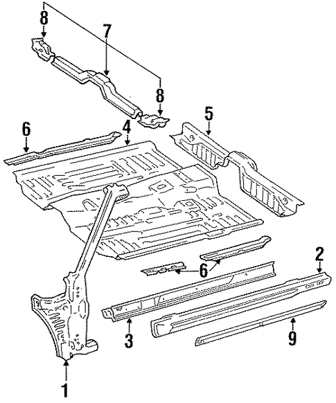 Floor Crossmember - Toyota (57476-20020)