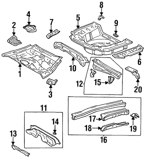 BODY/REAR FLOOR & RAILS for 1998 Toyota Tercel #1