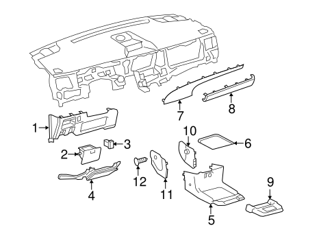 BODY/INSTRUMENT PANEL COMPONENTS for 2012 Toyota Sienna #2