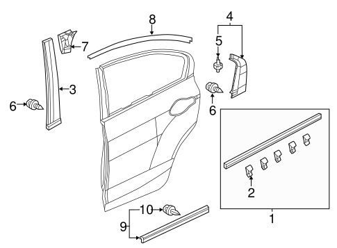 OEM Honda 72828-TR0-G01 - Seal, Rear Door (Lower)