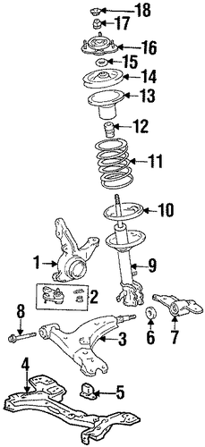 FRONT SUSPENSION/SUSPENSION COMPONENTS for 1996 Toyota Corolla #2