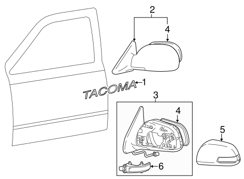 BODY/OUTSIDE MIRRORS for 2012 Toyota Tacoma #1