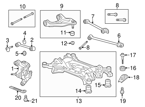 OEM Honda 50375-T2A-A01 - Stay, R Rear Sub-Frame Mounting (Rear)
