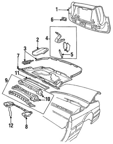 Folding Top Storage Compartment Parts For 1993 Cadillac Allante