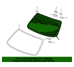 1999 Honda ACCORD SEDAN EXL (LEATHER) GLASS SET, RR. WINDSHIELD (GREEN) (APTECH) - (73201S84A00)