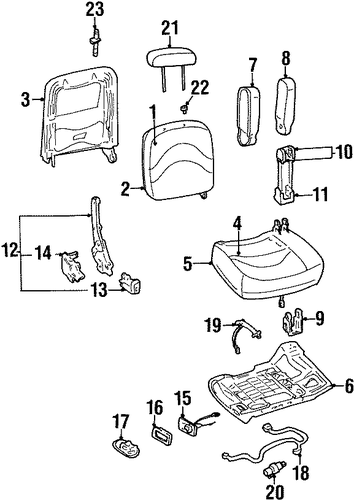 front seat components for 1997 mercury grand marquis