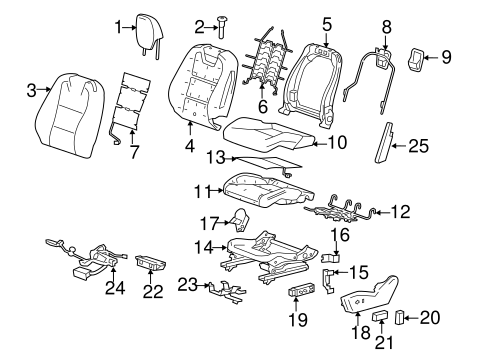 driver seat components parts for 2014 chevrolet camaro
