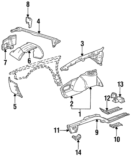 structural components  u0026 rails for 1997 cadillac eldorado