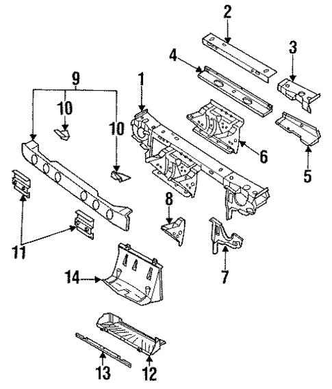oem radiator support for 1994 saturn sl1