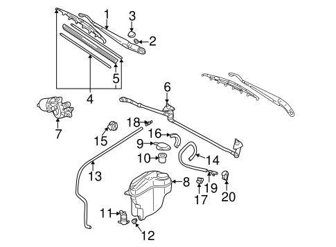 BODY/WIPER & WASHER COMPONENTS for 2000 Toyota Corolla #1