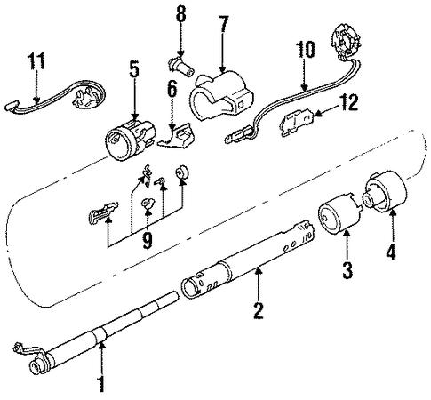 steering column assembly for 1986 oldsmobile cutlass