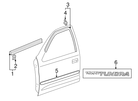 Exterior Trim Front Door Scat on 2006 toyota tundra double cab