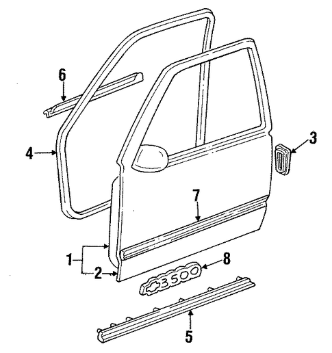 door  u0026 components for 1999 gmc suburban k2500