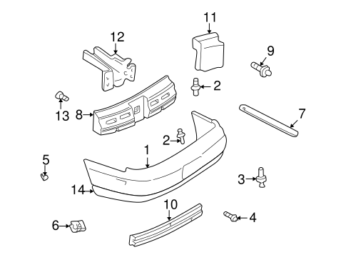 bumper components rear for 2003 chevrolet monte carlo. Black Bedroom Furniture Sets. Home Design Ideas