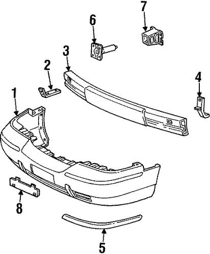 bumper components front for 2001 mercury grand marquis. Black Bedroom Furniture Sets. Home Design Ideas