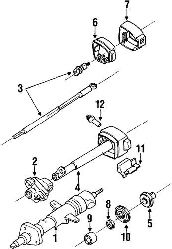 steering column assembly for 1989 chevrolet beretta  base