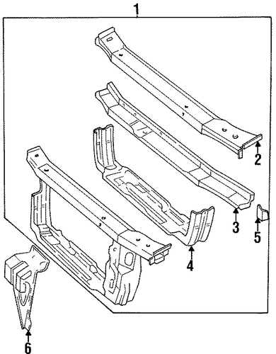 radiator support parts for 2000 chevrolet lumina