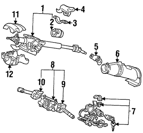 OEM Honda 35100-SR3-A12 - Lock Assembly, Steering