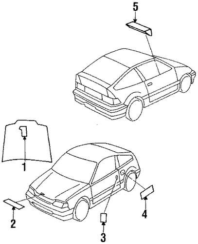1989 Honda CIVIC SEDAN DX Mark, Fan Caution - (19018P08000)