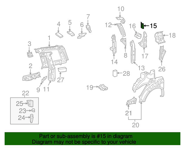 Corner Panel Bracket - Toyota (66383-0E030)