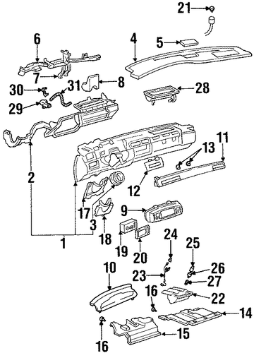 instrument panel parts for 1997 cadillac deville