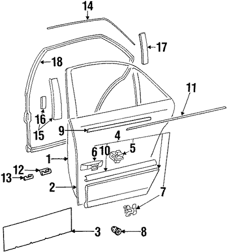 exterior trim rear door for 1998 mercedes benz s 320