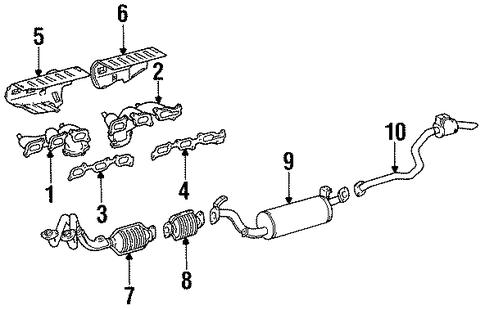 EXHAUST SYSTEM/EXHAUST COMPONENTS for 1996 Toyota Land Cruiser #1