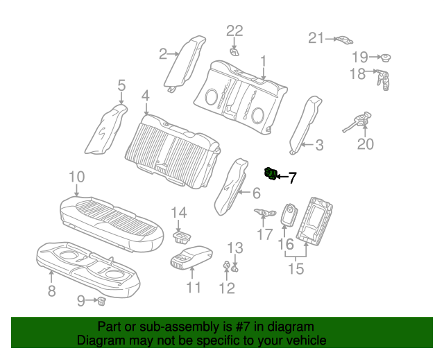 1999 Honda ACCORD SEDAN EXV6 BRACKET, R. SEAT PIVOT - (82290S84A02)