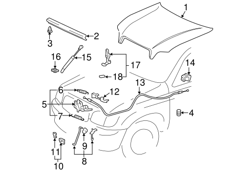 Safety Catch - Toyota (53550-0C030)