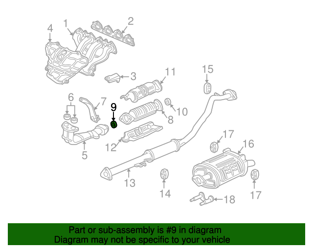 1999 Honda CIVIC SEDAN EX GASKET, EX. FLEXIBLE (50.8MM-64MM) - (18229S04X12)