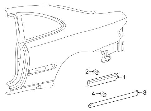 Exterior trim quarter panel for 2000 mercedes benz clk320 for Mercedes benz exterior parts