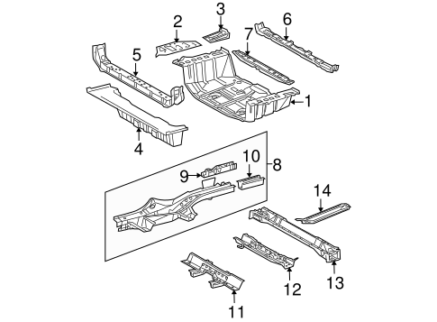 Floor Crossmember - Toyota (57607-0R011)
