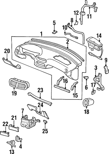 OEM Honda 77140-SR2-A00 - Instrument Panel Side Bracket