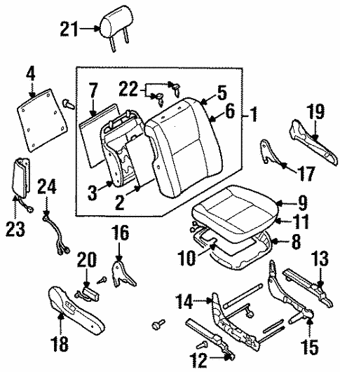 Front Seat Components For 1999 Nissan Maxima