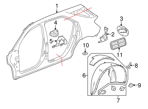 Oem 2017 Chevrolet Equinox Quarter Panel Components Parts