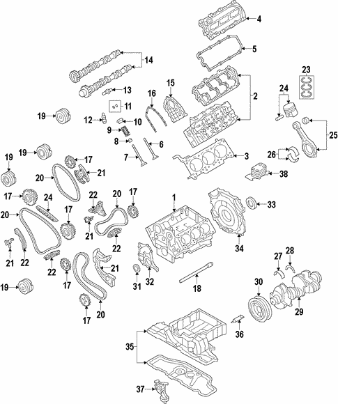 For Audi A6 A7 Quattro Q5 Q7 Lower Engine Timing Chain Guide Genuine 079109469AM